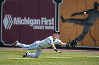 West Michigan Michigan Whitecaps outfielder Cole Bauml (16) attempts to make a diving catch against the Fort Wayne TinCaps during the Midwest League baseball game on April 26, 2017 at Fifth Third Ballpark in Comstock Park, Michigan. West Michigan defeated Fort Wayne 8-2. (Andrew Woolley/Four Seam Images)