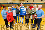 Michéal Kelliher from the Golden Oldies team, makes a presentation of an Everton jersey to family of Patrick Griffin in the Listowel Community centre on Thursday.<br />  L to r: Kathleen McGrath, Sheila Mahoney, Jake Griffin, Martina Kelly, Michéal Keliher, Maureen Griffin (mom), Wayne McGrath, Sharon Griffin and Johnny McGrath.