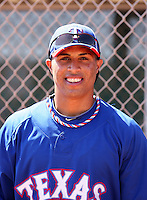 Leonys Martin #22 of the Texas Rangers works out at the Rangers extended spring training facility on May 7, 2011  in Surprise, Arizona. Martin recently signed a five-year deal with the Rangers worth $15.5 million after defecting from his native Cuba..Photo by:  Bill Mitchell/Four Seam Images.