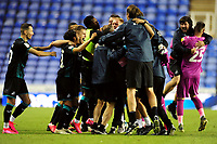 Swansea City celebrate at full time during the Sky Bet Championship match between Reading and Swansea City at the Madejski Stadium in Reading, England, UK. Wednesday 22 July 2020.
