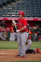 AZL Angels first baseman Dalton Blumenfeld (12) bats during a game against the AZL Giants on July 9, 2017 at Diablo Stadium in Tempe, Arizona. AZL Giants defeated the AZL Angels 8-4. (Zachary Lucy/Four Seam Images)