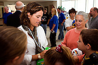 Julie Foudy signs autographs prior to the Hall of Fame Enshrinement Ceremony. National Soccer Hall of Fame at Wright Soccer Campus, Oneonta, NY, on August 28, 2006.