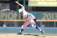 David Berg #26 of the UCLA Bruins pitches against the Oregon Ducks at Jackie Robinson Stadium on May 18, 2014 in Los Angeles, California. Oregon defeated UCLA, 5-4. (Larry Goren/Four Seam Images)
