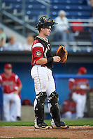 Batavia Muckdogs catcher Alex Jones (55) during a game against the Aberdeen Ironbirds on July 14, 2016 at Dwyer Stadium in Batavia, New York.  Aberdeen defeated Batavia 8-2. (Mike Janes/Four Seam Images)