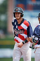 Quad Cities River Bandits left fielder Seth Beer (35) during a game against the West Michigan Whitecaps on July 23, 2018 at Modern Woodmen Park in Davenport, Iowa.  Quad Cities defeated West Michigan 7-4.  (Mike Janes/Four Seam Images)