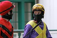 15th May 2020, Muenchen-Riem racecourse, Munich, Germany. Flat racing;  Jockey Eva-Maria Geisler with protective mask