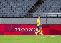 TOKYO, JAPAN - JULY 21: Lina Hurtig #8 of Sweden dribbles during a game between Sweden and USWNT at Tokyo Stadium on July 21, 2021 in Tokyo, Japan.