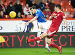 Aberdeen v St Johnstone…08.12.18…   Pittodrie    SPFL<br />Matty Kennedy's shot is tipped round the post by dons keeper Joe Lewis<br />Picture by Graeme Hart. <br />Copyright Perthshire Picture Agency<br />Tel: 01738 623350  Mobile: 07990 594431