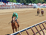 Paid Up Suscriber (no.2) wins the Grade III 2017 Alfred G. Shuvee Handicap  July 30 at Saratoga Race Course, Saratoga Springs, NY.  The winner, ridden by John Velazquez and trained by Chad Brown, won in hand over the 1 1/8 miles.  (Bruce Dudek/Eclipse Sportswire)