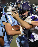 Fort Smith Southside's Luke Wyatt, left, collides with Fayetteville's Cross Garner (24) as he carries in the first quarter on Friday, Oct. 8, 2021 in Fort Smith. (Special to NWA Democrat Gazette/Brian Sanderford)