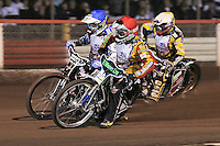 Heat 2: Danny King (red), Darcy Ward (blue) and Lewis Bridger (yellow) - Lee Richardson Memorial Speedway Meeting at Arena Essex Raceway, Purfleet - 28/09/12 - MANDATORY CREDIT: Gavin Ellis/TGSPHOTO - Self billing applies where appropriate - 0845 094 6026 - contact@tgsphoto.co.uk - NO UNPAID USE.