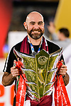 Qatar Head Coach Felix Sanchez Bas poses for photos with the Champion's trophy during the AFC Asian Cup UAE 2019 Final match between Japan (JPN) and Qatar (QAT) at Zayed Sports City Stadium  on 01 February 2019 in Abu Dhabi, United Arab Emirates. Photo by Marcio Rodrigo Machado / Power Sport Images