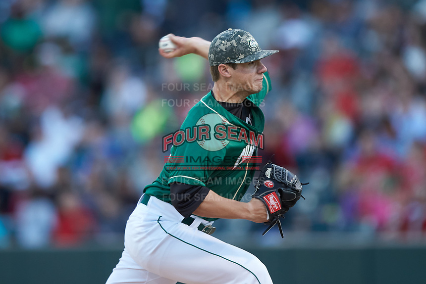 Charlotte 49ers relief pitcher Jacob Craver (35) in action against the North Carolina State Wolfpack at BB&T Ballpark on March 29, 2016 in Charlotte, North Carolina. The Wolfpack defeated the 49ers 7-1.  (Brian Westerholt/Four Seam Images)