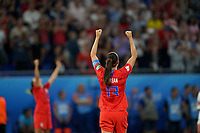 DECINES-CHARPIEU, FRANCE - JULY 02: Alex Morgan #13 and the USWNT celebrate their Semi-Final victory over England during a 2019 FIFA Women's World Cup France Semi-Final match between England and the United States at Groupama Stadium on July 02, 2019 in Decines-Charpieu, France.