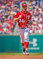 14 April 2013: Washington Nationals outfielder Bryce Harper trots back to the dugout during a game against the Atlanta Braves at Nationals Park in Washington, DC. The Braves shut out the Nationals 9-0 to sweep their 3-game series. Mandatory Credit: Ed Wolfstein Photo *** RAW (NEF) Image File Available ***