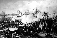Battle of New Orleans, January 1815. Copy of lithograph by Kurz and Allison, published 1890. (Army)  <br /> Exact Date Shot Unknown <br /> NARA FILE #:  111-SC-104311<br /> WAR & CONFLICT BOOK #:  91