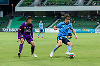 24th March 2021; HBF Park, Perth, Western Australia, Australia; A League Football, Perth Glory versus Sydney FC; Sydney's Joel King keeps the ball from Perth's Cameron Cook