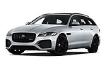 Stock pictures of low aggressive front three quarter view of 2021 Jaguar XF-Sportbrake R-Dynamic-S 5 Door Wagon Low Aggressive
