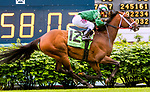 LOUISVILLE, KY - MAY 05: Green Mask with Javier Castellano wins the Turf Sprint on Kentucky Oaks Day at Churchill Downs on May 5, 2017 in Louisville, Kentucky. (Photo by Sue Kawczynski/Eclipse Sportswire/Getty Images)
