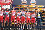 Gianni Savio and his Androni Giocattoli-Sidermec team at sign on before the start of the 99th edition of Milan-Turin 2018, running 200km from Magenta Milan to Superga Basilica Turin, Italy. 10th October 2018.<br /> Picture: Eoin Clarke | Cyclefile<br /> <br /> <br /> All photos usage must carry mandatory copyright credit (© Cyclefile | Eoin Clarke)