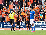 St Johnstone v Dundee United…22.08.21  McDiarmid Park    SPFL<br />Peter Pawlett is booked for his celebrates after putting united 1-0 up<br />Picture by Graeme Hart.<br />Copyright Perthshire Picture Agency<br />Tel: 01738 623350  Mobile: 07990 594431