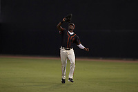 AZL Giants Black right fielder Kwan Adkins (8) settles under a fly ball during an Arizona League game against the AZL Athletics at the San Francisco Giants Training Complex on June 19, 2018 in Scottsdale, Arizona. AZL Athletics defeated AZL Giants Black 8-3. (Zachary Lucy/Four Seam Images)