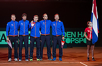 The Hague, The Netherlands, September 15, 2017,  Sportcampus , Davis Cup Netherlands - Chech Republic,  Dutch team during national auntum<br /> Photo: Tennisimages/Henk Koster