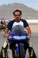 Nov. 1, 2008; Las Vegas, NV, USA: NHRA pro stock motorcycle rider Freddie Camarena during qualifying for the Las Vegas Nationals at The Strip in Las Vegas. Mandatory Credit: Mark J. Rebilas-