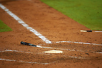 Palm Beach Cardinals broke bat sits near home plate during a game against the Bradenton Marauders on August 9, 2016 at McKechnie Field in Bradenton, Florida.  Bradenton defeated Palm Beach 8-7.  (Mike Janes/Four Seam Images)