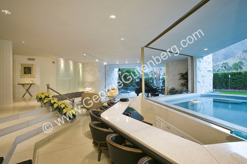 Stock photo of large bar in Palm Springs house