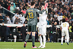 Real Madrid's Thibaut Courtois (l) and Sergio Ramos celebrate the victory in La Liga match. March 1,2020. (ALTERPHOTOS/Acero)