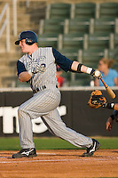 Nate Recknagel #12 of the Lake County Captains follows through on his swing versus the Kannapolis Intimidators at Fieldcrest Cannon Stadium May 1, 2009 in Kannapolis, North Carolina. (Photo by Brian Westerholt / Four Seam Images)