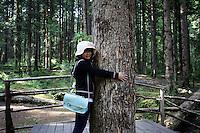 A tourist hugs a tree in the Jiuzhaigou National Park. Sichuan Province. China