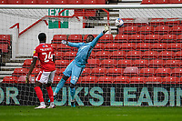 3rd October 2020; City Ground, Nottinghamshire, Midlands, England; English Football League Championship Football, Nottingham Forest versus Bristol City; Brice Samba of Nottingham Forest can't reach the ball and concedes a second goal in the 22nd minute for 0-2