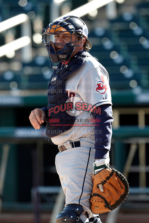 Former major league catcher Kevin Rhomberg during a campers vs pros game at the Cleveland Indians Fantasy Camp at Goodyear Stadium on January 19, 2012 in Goodyear, Arizona.  (Mike Janes/Four Seam Images)
