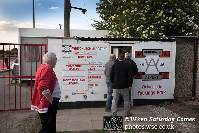 Spectators paying at the turnstile at Yockings Park before Whitchurch Alport hosted Cammell Laird 1907 in the 2017-18 North West Counties Division One play-off final. Alport were formed in 1946 and were named after Alport Farm, Whitchurch, which had been the home of a local footballer Coley Maddocks who had been killed in action in the war. The home team won the match 2-1 watched by a crowd of 733, a club record attendance.