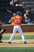 Willie Abreu (13) of the Miami Hurricanes at bat against the Wake Forest Demon Deacons at Wake Forest Baseball Park on March 22, 2015 in Winston-Salem, North Carolina.  The Demon Deacons defeated the Hurricanes 10-4.  (Brian Westerholt/Four Seam Images)