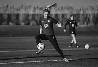 COMMERCE CITY, CO - OCTOBER 25: Kristie Mewis of the USWNT tries to stop the ball at Dick's Sporting Goods training fields on October 25, 2020 in Commerce City, Colorado.