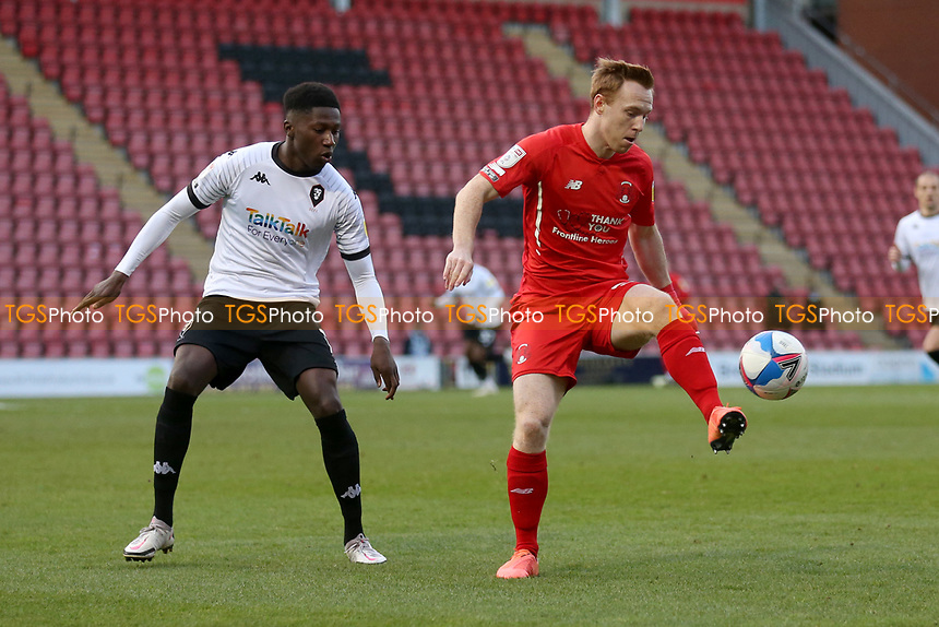 Danny Johnson of Leyton Orient and Di'Shon Bernard of Salford City during Leyton Orient vs Salford City, Sky Bet EFL League 2 Football at The Breyer Group Stadium on 2nd January 2021