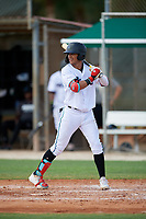 GCL Marlins Victor Mesa Jr. (9) at bat during a Gulf Coast League game against the GCL Astros on August 8, 2019 at the Roger Dean Chevrolet Stadium Complex in Jupiter, Florida.  GCL Astros defeated GCL Marlins 4-2.  (Mike Janes/Four Seam Images)