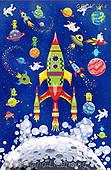 Kate, CHILDREN, KINDER, NIÑOS, paintings+++++,GBKM764,#k#, EVERYDAY ,space,rockets