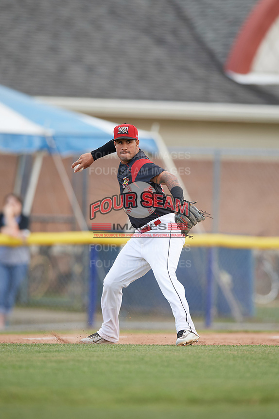 Batavia Muckdogs third baseman Rony Cabrera (26) throws to first base during a game against the West Virginia Black Bears on June 25, 2017 at Dwyer Stadium in Batavia, New York.  West Virginia defeated Batavia 6-4 in the completion of the game started on June 24th.  (Mike Janes/Four Seam Images)