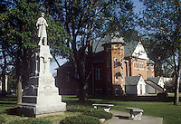 Civil War monument and municipal building in Stockbridge, Michigan.