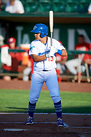 Luis Paz (13) of the Ogden Raptors bats against the Orem Owlz in Pioneer League action at Lindquist Field on June 21, 2017 in Ogden, Utah. The Owlz defeated the Raptors 16-5. This was Opening Night at home for the Raptors.  (Stephen Smith/Four Seam Images)