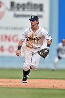 Asheville Tourists shortstop Brendon Rodgers (1) moves into second to field the throw from the catcher during game one of a double header against the Charleston RiverDogs at McCormick Field on July 8, 2016 in Asheville, North Carolina. The RiverDogs defeated the Tourists 10-4 in game one. (Tony Farlow/Four Seam Images)