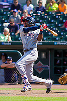 Colorado Springs Sky Sox outfielder Lewis Brinson (28) at bat during a game against the Iowa Cubs on September 4, 2016 at Principal Park in Des Moines, Iowa. Iowa defeated Colorado Springs 5-1. (Brad Krause/Four Seam Images)