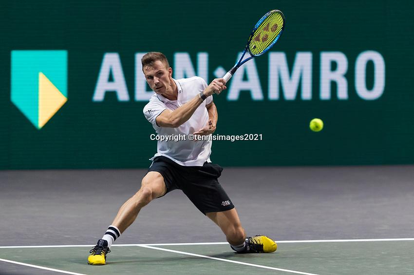 Rotterdam, The Netherlands,7 march  2021, ABNAMRO World Tennis Tournament, Ahoy,  <br /> Final: Final: Marton Fucsovics (HUN). <br /> Photo: www.tennisimages.com/henkkoster