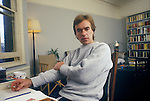 Martin Amis, at home in flat at  54a Leamington Road Villas, London W11. 1980s. Probably working on his novel, Other People.