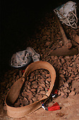 A-Ukre village, Brazil. Brazil nuts and a Kayapo woven palm leaf strap for carrying babies; Xingu Indigenous Reserve.