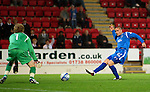 St Johnstone v Queen of the South...21.09.10  CIS Cup 3rd Round.Marcus Haber puts the ball past Lee Robinson to make it 2-0.Picture by Graeme Hart..Copyright Perthshire Picture Agency.Tel: 01738 623350  Mobile: 07990 594431